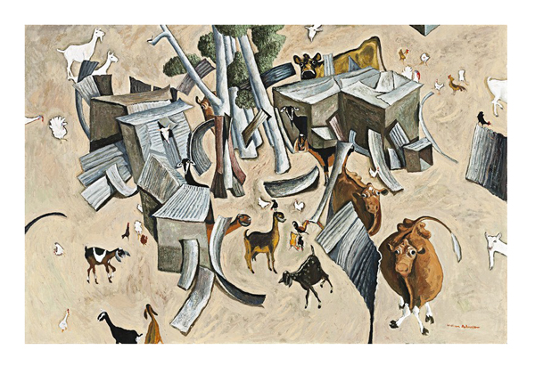 William Robinson's whimsical 'Birkdale Farm Construction with Willy Wagtail', estimated at $250,000 - 350,000 leads the third sale of the Laverty Collection, to be sold by Deutscher and Hackett in Sydney on 5 April, 2017.